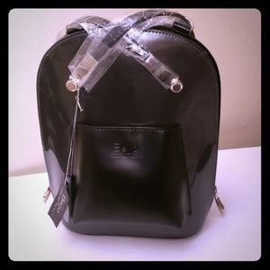 NEW! Beijo | Black Faux Leather Backpack Bag